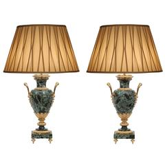 Pair of French 19th Century Louis XVI Style Marble and Ormolu-Mounted Lamps