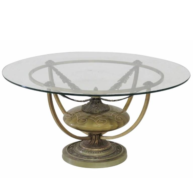 Mid Century Modern Round Urn Base Glass Top Coffee Table For Sale At 1stdibs
