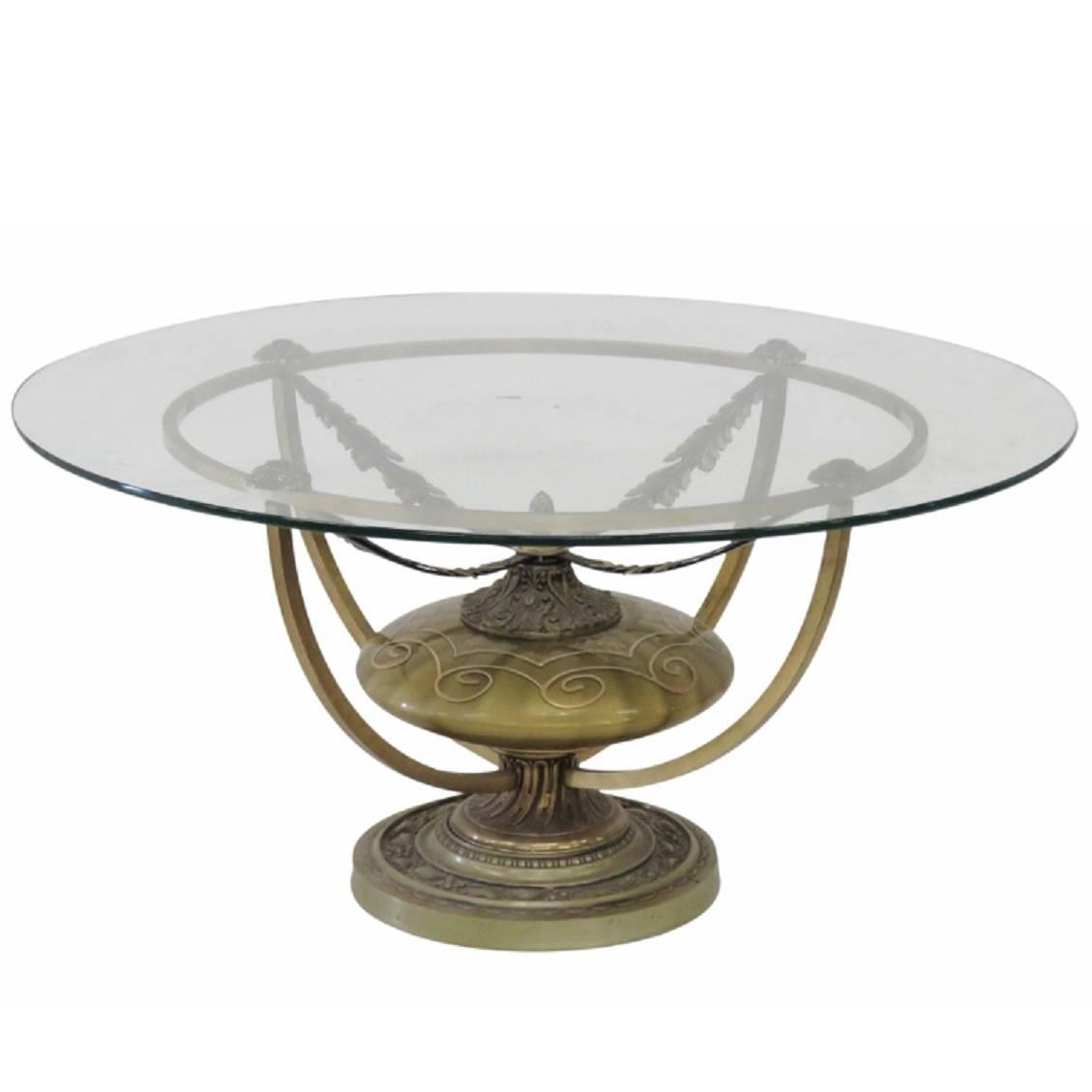 Mid-Century Modern Round Urn Base Glass Top Coffee Table