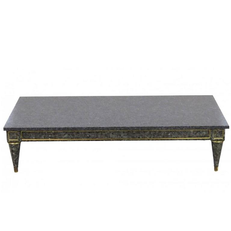 Jansen Style Faux Painted Marble-Top Coffee Table