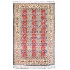 Mid 20th Century Red Kayseri Silk Rug with Potted Flowers