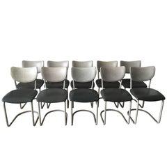 Midcentury Set of 10 Gebroeders de Wit chairs, for De Wit Schiedam, Model 2011