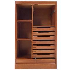 Danish Teak Tambour Filing Cabinet Midcentury Storage Unit, 1960s