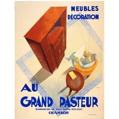 Large Original Vintage 1920s Art Deco Furniture Advertising Poster Grand Pasteur
