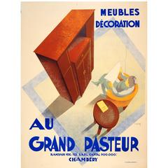 Large Original 1920s Art Deco Furniture Advertising Poster for Grand Pasteur