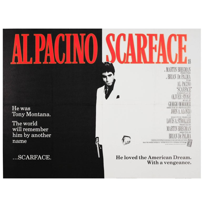 Original Vintage Movie Poster for the Cult Film Starring Al Pacino - Scarface For Sale