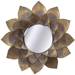 Rare Hand-Hammered Brass Lotus Flower Mirror, Mid-Century