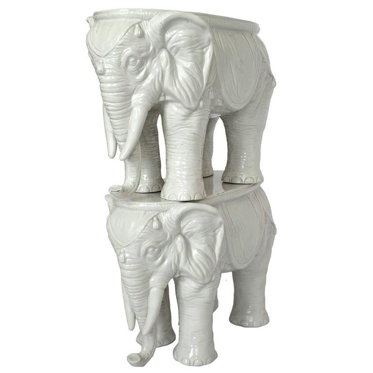 Pair of Vintage Ceramic Indian Elephant Stools / Garden Stoneware Seats 1
