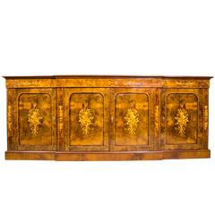 Enormous Burr Walnut Marquetry Four-Door Sideboard