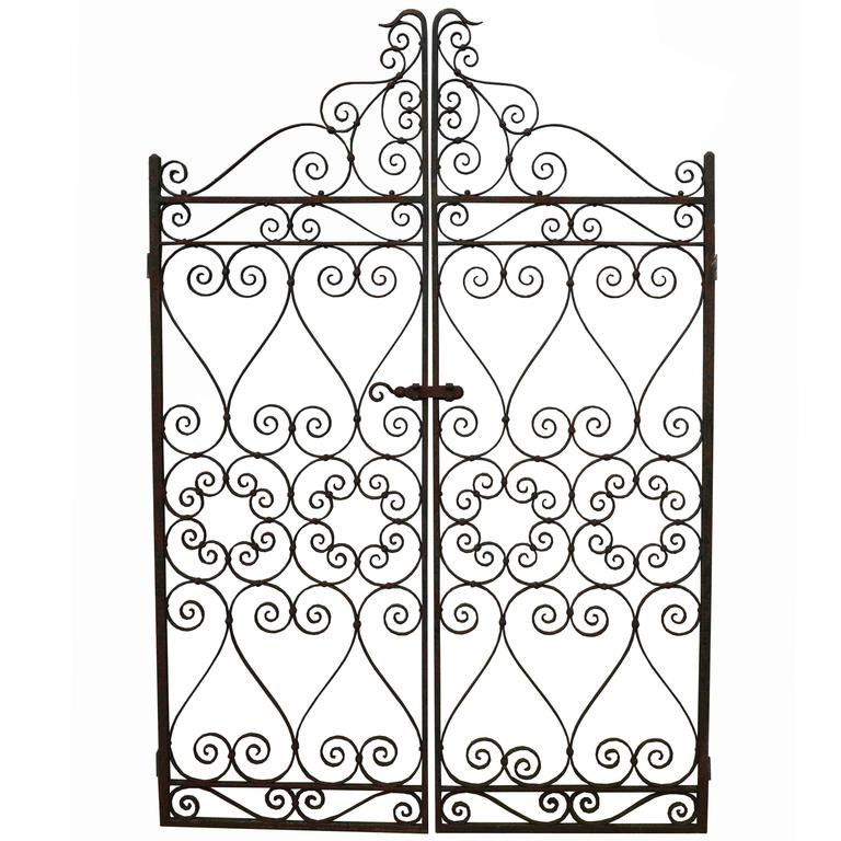 Pair Of Early 20th Century Wrought Iron Pedestrian Gates For