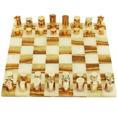 1970s Modernist Chess Set Onyx Board Gold Steel Pieces