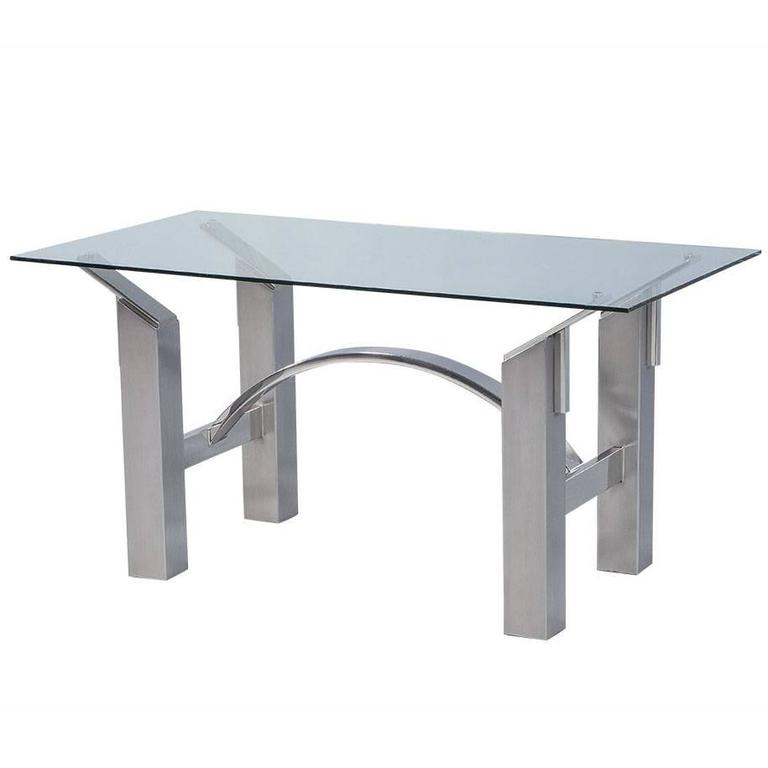 Modern Polished Nickel and Brushed Steel Table or Desk at  : DS4992003orgl from www.1stdibs.com size 768 x 768 jpeg 19kB