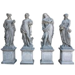 Set of Hand-Carved Four Seasons Statues in Vicenza Stone