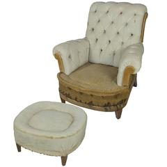 Large Tufted Armchair and Ottoman