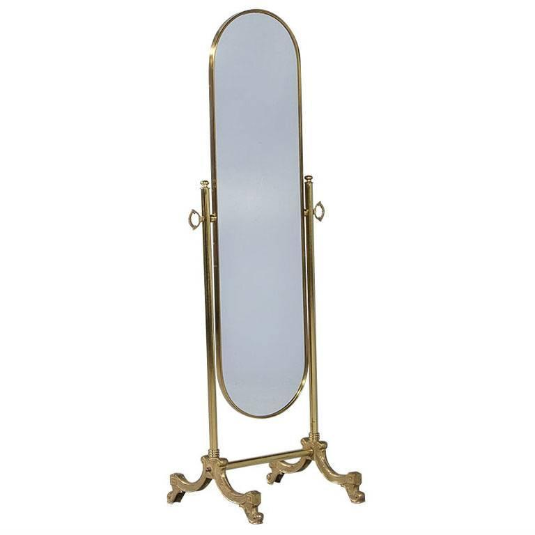 French Oval Cheval Mirror With Brass Stand For