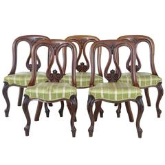 Set of Five 19th Century Early Victorian Carved Mahogany Dining Chairs