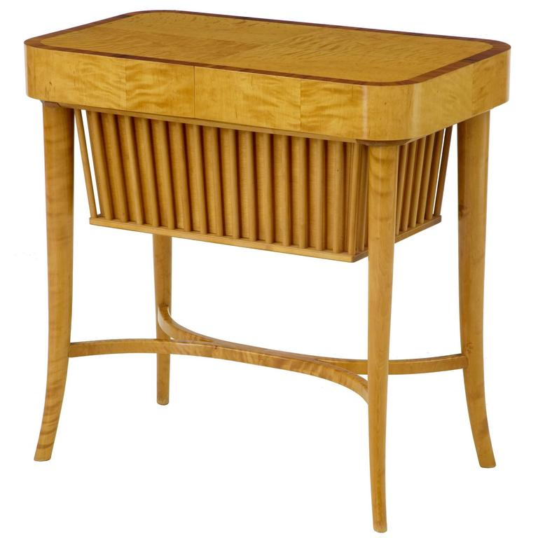 20th Century 1950s Swedish Birch Sewing Work Table by Bodafors For Sale