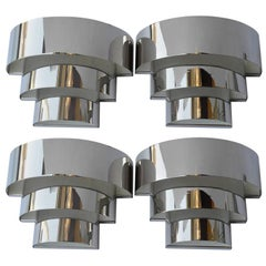 Pair of Art Deco Chrome Sconces