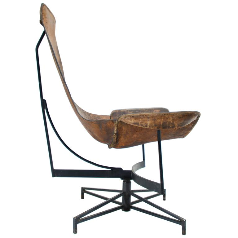 William Katavolos Swiveling Leather Sling Chair At 1stdibs