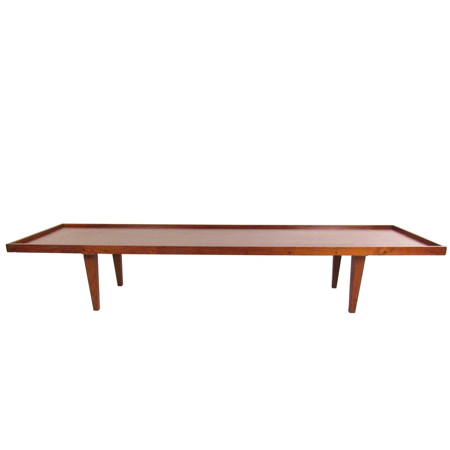Long Mid Century Walnut Raised Edge Coffee Table at 1stdibs