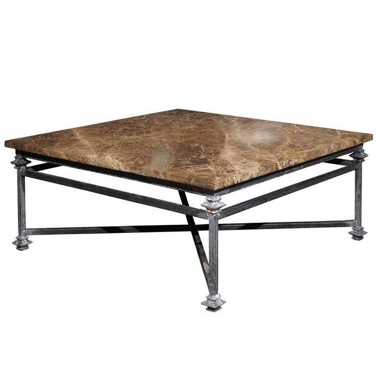 Iron Marble Top Coffee Table: Iron Base With Marble Top Coffee Table At 1stdibs