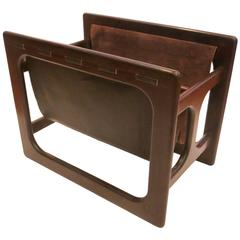 Danish Modern Rare Leather and Rosewood Sculpted Double Magazine Rack