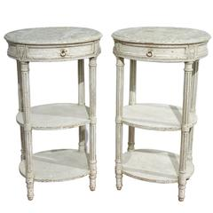 Pair of 19th Century French Louis XVI Painted Oval Tables with Faux Marble Top