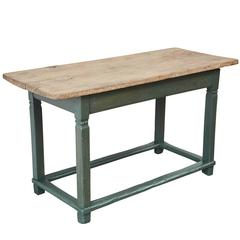 Rustic Pine Table with Green Painted Base