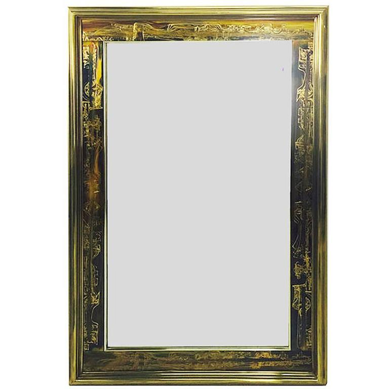 Acid-Etched Frame Beveled Mirror by Bernhard Rohne for Mastercraft