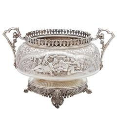 Sterling Silver, Large Antique Oval Centerpiece Bowl of Shakespearian Interest