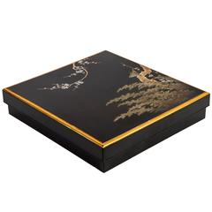 19th Meiji Japanese Lacquered Suzuribako with Bush Warbler, Writing Box