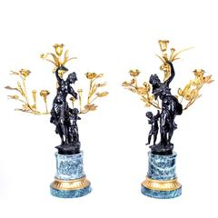 Pair of Large Empire Bronze and Gilded Bronze Candelabra