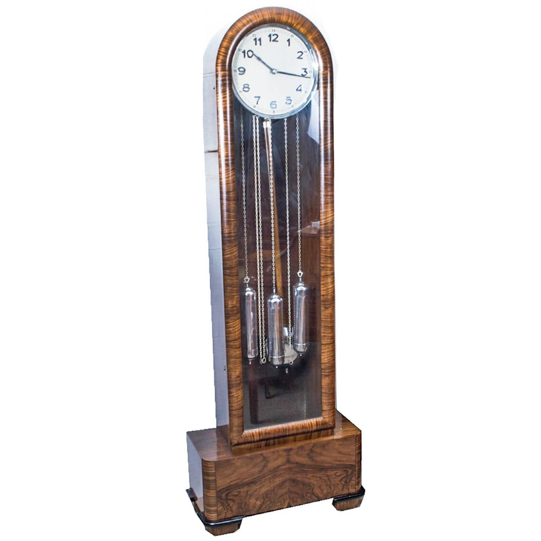 Antique Art Deco Walnut Chiming Longcase Clock Circa 1935