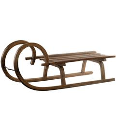 19th Century Grindelwald Ram's Horn Wooden Sled