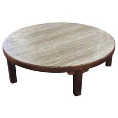 Coffee Table with Travertine Top by Edward Wormley for Dunbar