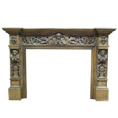 Very Large and Imposing Antique Oak Chimneypiece