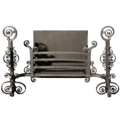 Intricate Antique Wrought Iron Fire Grate
