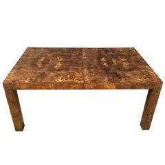 Milo Baughman for Thayer Coggin Burl Olive Wood Parsons Table