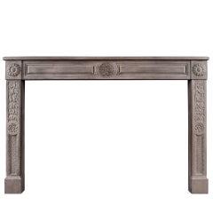 Rustic Louis XVI Style Limestone Fireplace