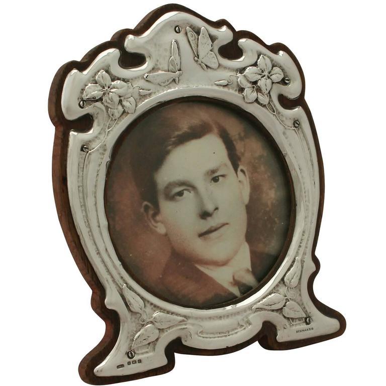 Antique Edwardian Art Nouveau Style Sterling Silver Photograph Frame