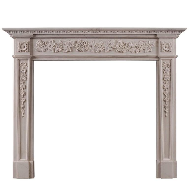 English Regency Style White Marble Fireplace