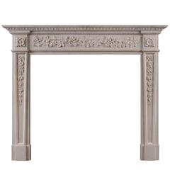English Regency Style White Marble Fireplace