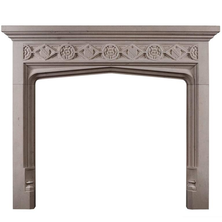 Gothic Style Limestone Fireplace For Sale