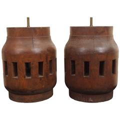 Pair of Heavy Industrial Wood Wheel Hub Lamps