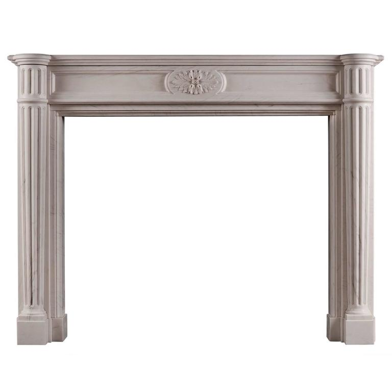 French Louis XVI Style White Marble Fireplace