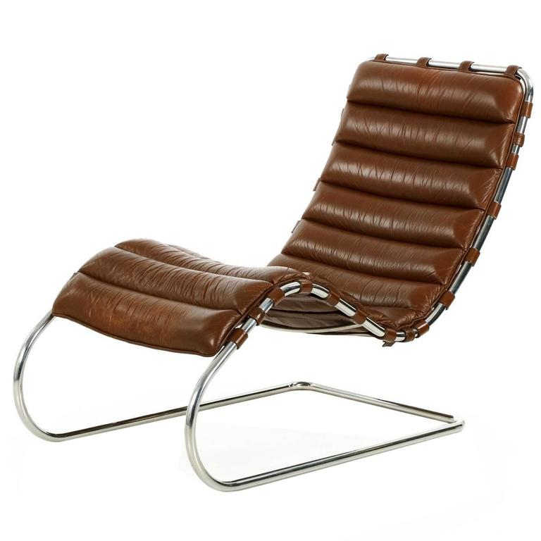 Fine mies van der rohe for knoll mr chaise lounge in for Antique leather chaise