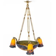 Exceptional 1920s Art Deco Chandelier by Muller Frères