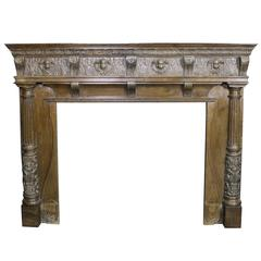 Large 19th Century Carved Oak Fire Surround