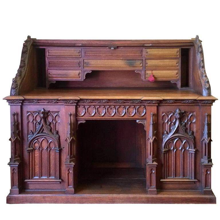 Amazing Gothic Roll Top Desk With Hidden Compartments At