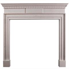 Delicate, Late Georgian Style White Marble Fireplace